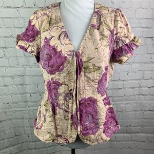 Elevenses Purple Beige Floral Print Blazer Jacket